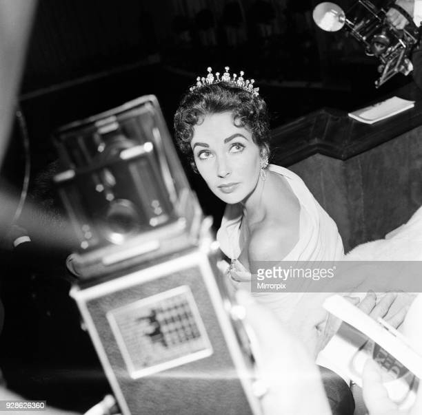 Elizabeth Taylor pictured on opening night of the Cannes Film Festival 1957, where her husband and film producer Mike Todd, is promoting new film...