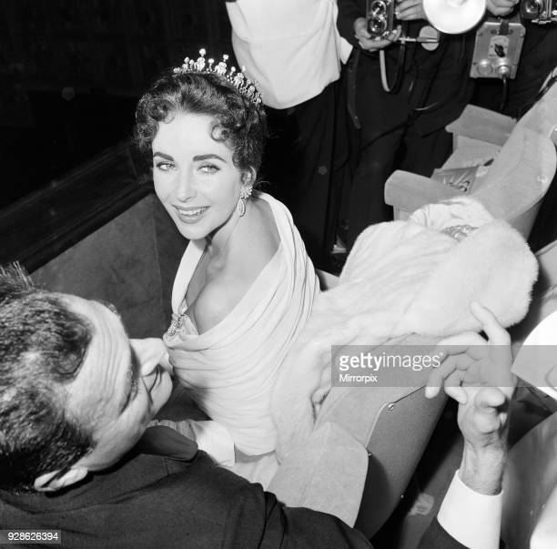 Elizabeth Taylor pictured on opening night of the Cannes Film Festival 1957 where her husband and film producer Mike Todd is promoting new film...