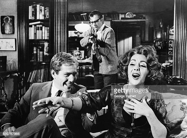 "Elizabeth Taylor, Richard Burton and George Segal are shown in a scene from Edward Albee's ""Who's Afraid of Virginia Woolf?"", an Ernest Lehman..."