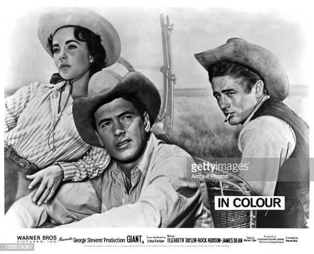 Elizabeth Taylor Rock Hudson and James Dean in movie art for the film 'Giant' 1956