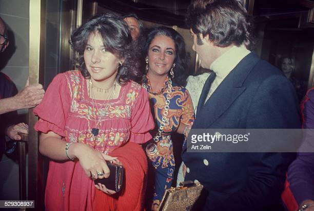 Elizabeth Taylor with her daughter Maria Burton at a formal event circa 1970 New York