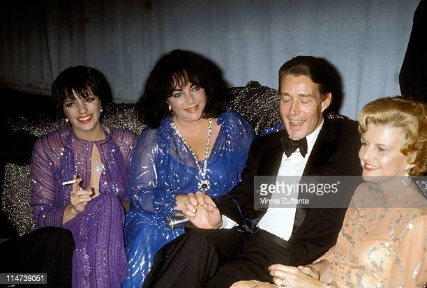 Elizabeth Taylor with Liza Minnelli and Halston and Betty Ford at Studio 54 in NYC 1977