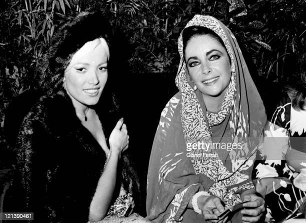 Elizabeth Taylor with the Spanish actress Agatha Lys attends the 21th San Sebastian International Film Festival, 18th September 1973, San Sebastian,...