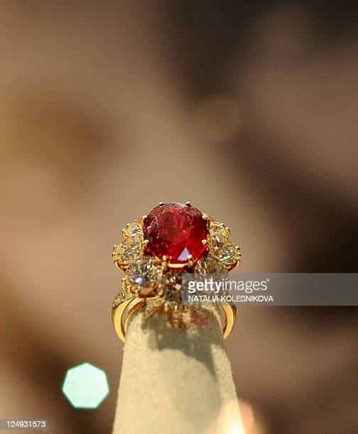 Elizabeth Taylor's ring is displayed at a public exhibition in GUM on Moscow's Red Square on September 14 shortly after the exhibition opening...