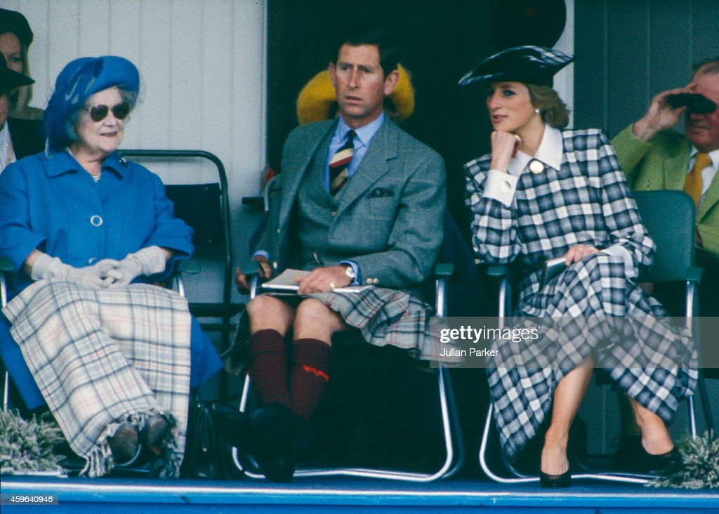 Elizabeth, The Queen Mother, Charles, Prince of Wales, and Diana, Princess of Wales attend the annual Braemar Highland Games, on September 3, 1989, in Braemar, Scotland.