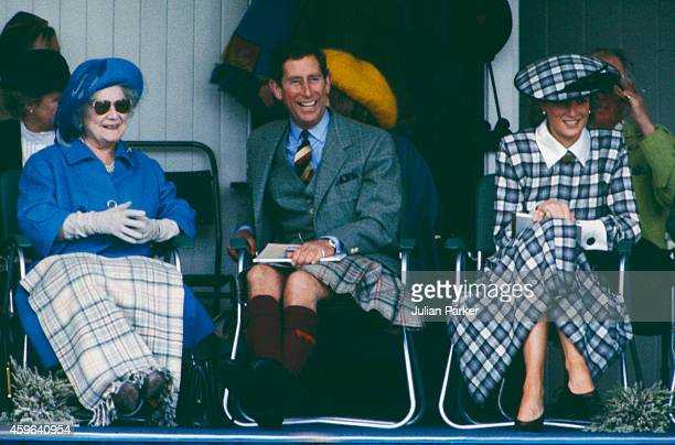 Elizabeth The Queen Mother Charles Prince of Wales and Diana Princess of Wales attend the annual Braemar Highland Games on September 3 in Braemar...