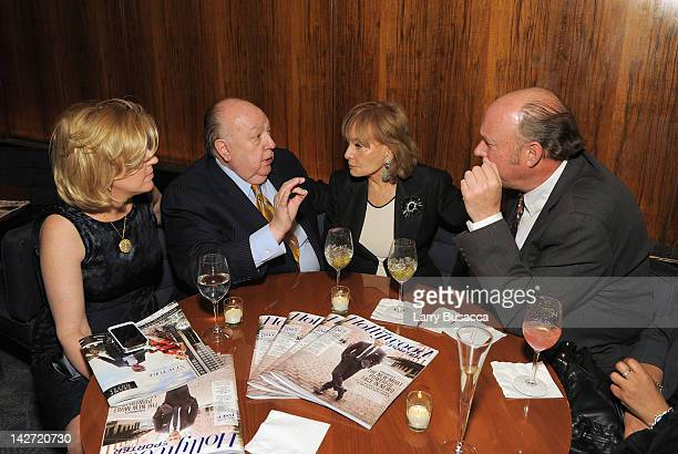 Elizabeth Tilson Ailes Roger Ailes President of Fox News Channel and Barbara Walters attend the Hollywood Reporter celebration of The 35 Most...