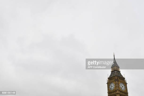Elizabeth Tower is seen at the Houses of Parliament in at the Houses of Parliament in London on August 21 2017 ahead of the final chimes of the...
