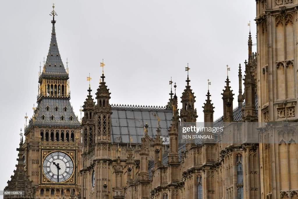 Elizabeth Tower (Big Ben) is seen at the Houses of Parliament in London on August 21, 2017 ahead of the final chimes of the famous bell before renovation works begin. Britain's Big Ben bell fell silent on August 21 for four years of renovation work, with its final 12 bongs ringing for midday in front of a crowd of over a thousand people. The repair work on the landmark looming over the Houses of Parliament in Westminster has sparked protests including from Prime Minister Theresa May. STANSALL