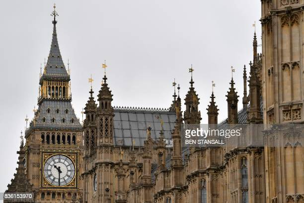 Elizabeth Tower is seen at the Houses of Parliament in London on August 21 2017 ahead of the final chimes of the famous bell before renovation works...