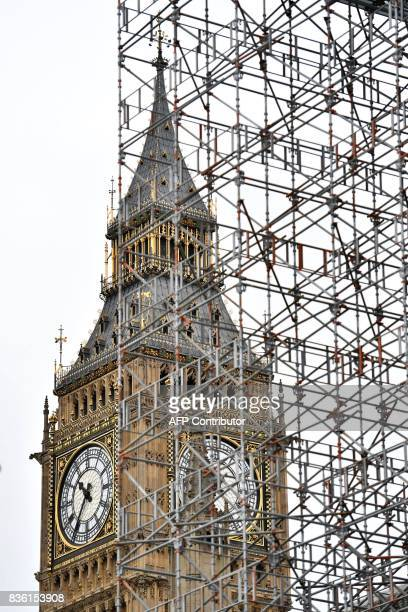 Elizabeth Tower is seen through scaffolding at the Houses of Parliament in London on August 21 2017 ahead of the final chimes of the famous bell...