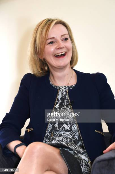 Elizabeth Truss Lord Chancellor and Secretary of State for Justice speaks at the 'Turn The Tables' lunch hosted by Tania Bryer and James Landale in...