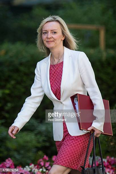 Elizabeth Truss Secretary of State for Environment Food and Rural Affairs arrives at Downing Street on June 30 2015 in London England Prime Minister...