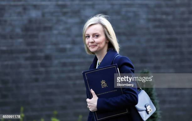 Elizabeth Truss UK justice secretary arrives for the weekly cabinet meeting at Downing Street in London UK on Tuesday March 21 2017 The European...