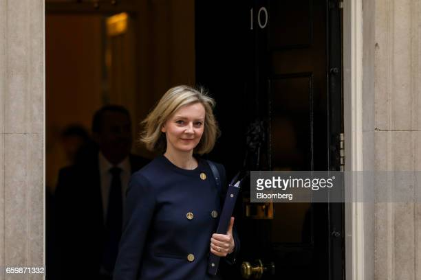 Elizabeth Truss UK justice secretary leaves following a cabinet meeting at Downing Street in London UK on Wednesday March 29 2017 The UK will start...
