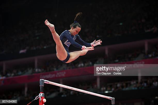 Elizabeth Tweddle Great Britain in action winning the Bronze Medal during the Gymnastics Artistic Women's Apparatus Uneven Bars Final at the London...
