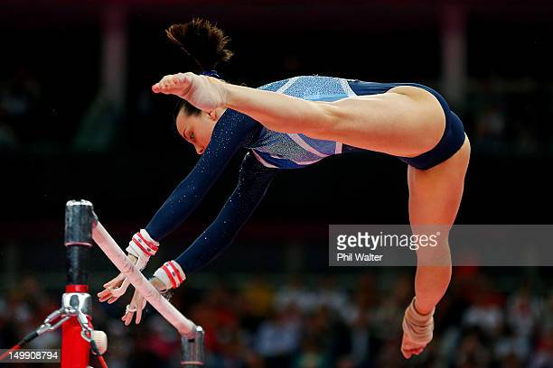 Elizabeth Tweddle of Great Britain competes in the Artistic Gymnastics Women's Uneven Bars final on Day 10 of the London 2012 Olympic Games at North...