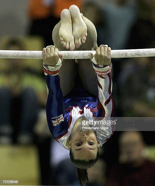 Elizabeth Tweddle of Great Britain performs on the horizontal bar on her way to winning the gold medal in the the womens individual finals during the...