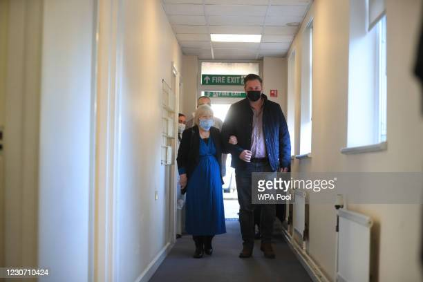 Elizabeth Van Tam the mother of Jonathan Van-Tam, deputy chief medical officer for England, arrives with her son-in-law Nick Hayes before being...