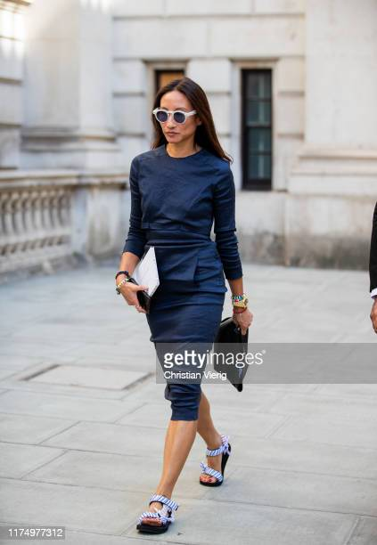 Elizabeth von der Goltz is seen wearing navy dress outside Victoria Beckham during London Fashion Week September 2019 on September 15 2019 in London...