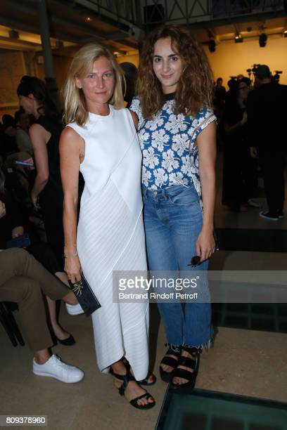 Elizabeth von Guttman and Alexia Niedzielski attend the Azzedine Alaia Fashion Show as part of Haute Couture Paris Fashion Week Held at Azzedine...