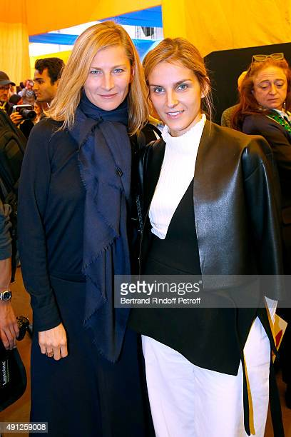 Elizabeth von Guttman and Gaia Repossi attend the Celine show as part of the Paris Fashion Week Womenswear Spring/Summer 2016 on October 4 2015 in...