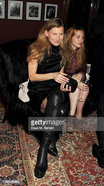 Elizabeth von Guttman and Josephine de la Baume attend a dinner following the Mulberry Autumn/Winter 2012 show during London Fashion Week at The...