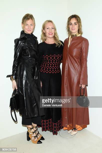Elizabeth von Guttman Diana Widmaier Picasso and Alexia Niedlikski attend Mene 24 Karat Jewelry Presentation at Gagosian Gallery on January 23 2018...