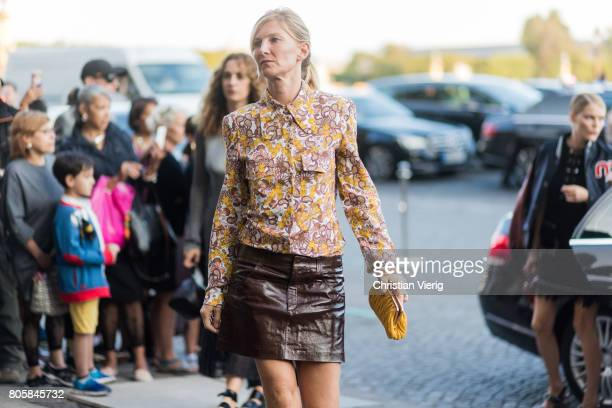 Elizabeth von Guttman outside Miu Miu Cruise Collection during Paris Fashion Week Haute Couture Fall/Winter 20172018 Day One on July 2 2017 in Paris...