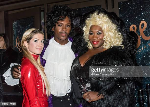 Elizabeth Wagmeister Carlos Greer and Bevy Smith of Page Six TV are seen during Heidi Klum's 18th Annual Halloween Party at Magic Hour Rooftop Bar...