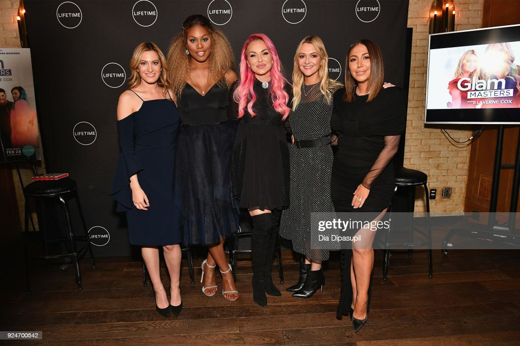 Elizabeth Wagmeister, Laverne Cox, Kandee Johnson, Zanna Roberts Rassi, and Diana Madison attend the exclusive premiere event of Lifetime's new show 'Glam Masters' with the cast and executive producer at Dirty French on February 26, 2018 in New York City.