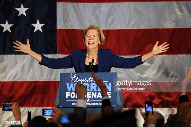 Elizabeth Warren takes the stage for her acceptance after beating incumbent US Senator Scott Bown at the Copley Fairmont November 6 2012 Boston...