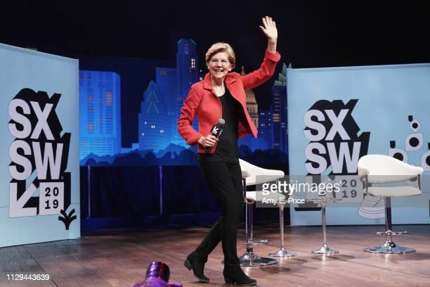 Elizabeth Warren walks onstage at Conversations About America's Future Senator Elizabeth Warren during the 2019 SXSW Conference and Festivals at...