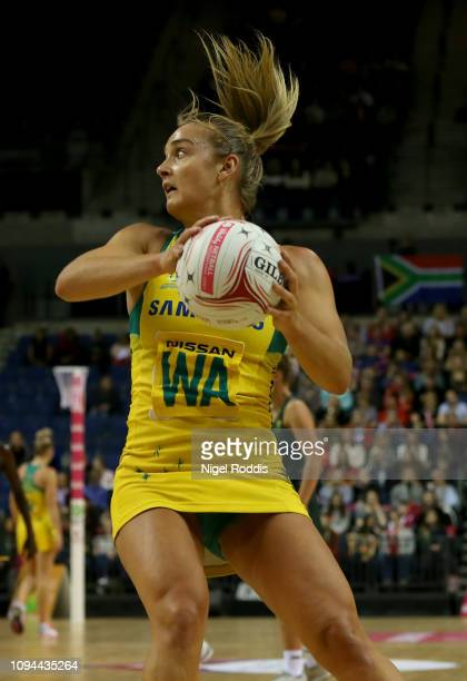 Elizabeth Watson of Australia in action during the Vitality Netball International Series match between South Africa and Australian Diamonds as part...