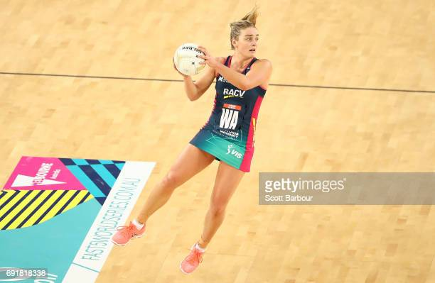 Elizabeth Watson of the Vixens controls the ball during the Super Netball Major Semi Final match between the Vixens and the Lightning at Margaret...