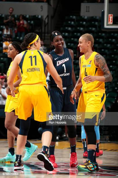 Elizabeth Williams of the Atlanta Dream and Candice Dupree of the Indiana Fever interact during the game between the two teams on June 16 2018 at...