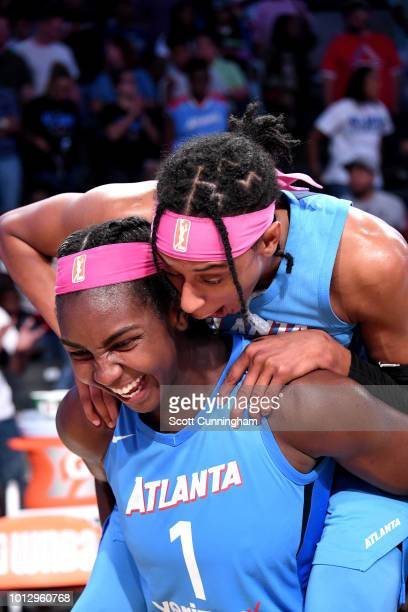 Elizabeth Williams of the Atlanta Dream reacts after the game against the Las Vegas Aces on August 07, 2018 at McCamish Pavilion in Atlanta, Georgia....