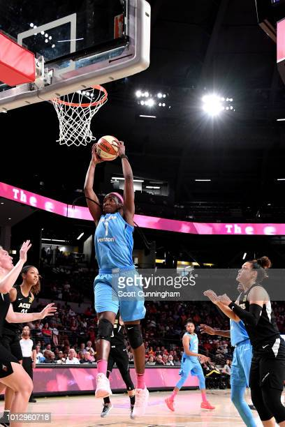 Elizabeth Williams of the Atlanta Dream shoots the ball during the game against the Las Vegas Aces on August 07, 2018 at McCamish Pavilion in...