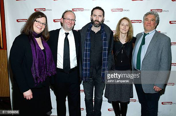 Elizabeth Williamson Andrew Lynese Dan O'Brien Jo Bonney and Stacey Childs attend The Body Of An American opening night at Mr Dennehy's on February...