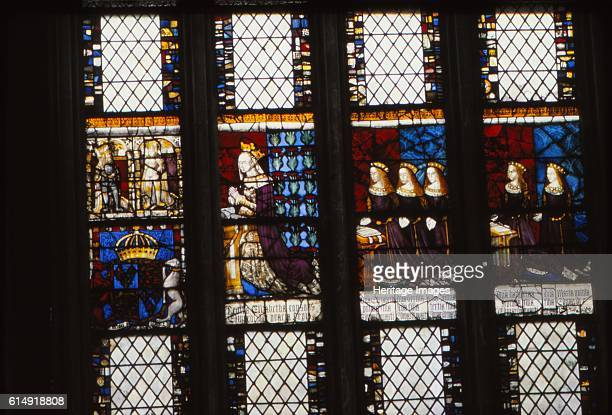 Elizabeth Woodville and Daughters Canterbury Cathedral Kent 20th century Medieval stained glass depiction of Elizabeth praying opposite her husband...