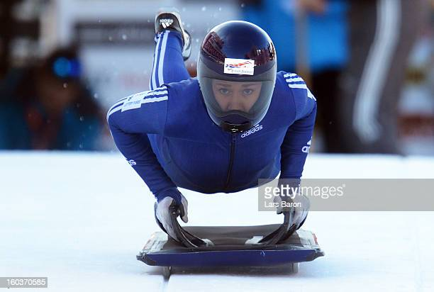 Elizabeth Yarnold of Great Britain competes during a training session at Olympia Bob Run on January 30 2013 in St Moritz Switzerland