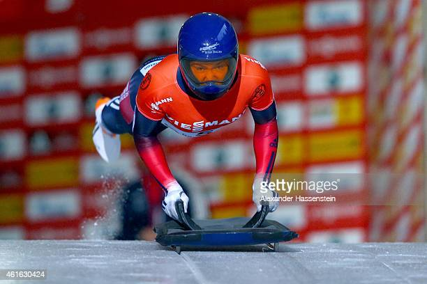 Elizabeth Yarnold of Great Britain competes during Viessmann FIBT Sceleton World Cup at Deutche Post Eisarena on January 16 2015 in Koenigssee Germany