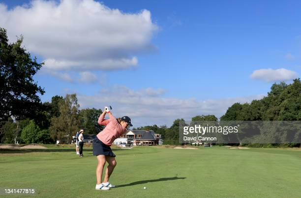 Elizabeth Young plays her second shot on the 18th hole during the Rose Ladies Series at North Hants Golf Club on September 20, 2021 in Fleet, England.