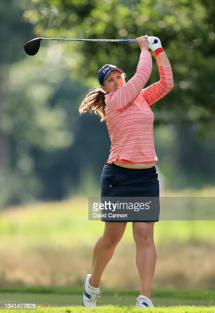 Elizabeth Young plays her tee shot on the 18th hole during the Rose Ladies Series at North Hants Golf Club on September 20, 2021 in Fleet, England.