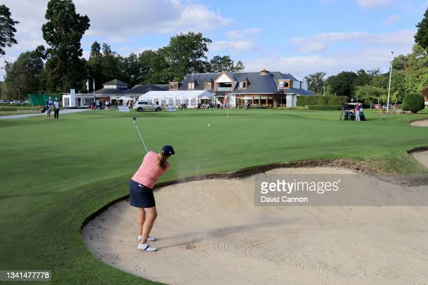 Elizabeth Young plays her third shot on the 18th hole during the Rose Ladies Series at North Hants Golf Club on September 20, 2021 in Fleet, England.