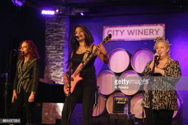 Elizabeth Ziff Alyson Palmer and Amy Ziff of the group Betty perform at the 17th Annual Downtown Seder at City Winery on April 3 2017 in New York City