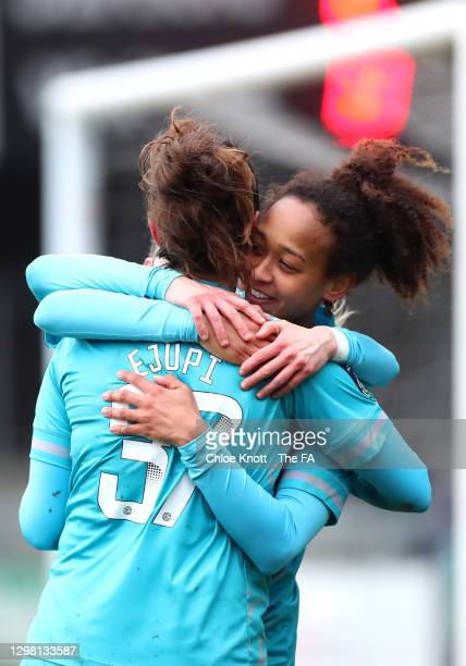 Elizabetha Ejupi of London City Lionesses celebrates after scoring their sides third goal with team mate Atlanta Primus during the Barclays FA...