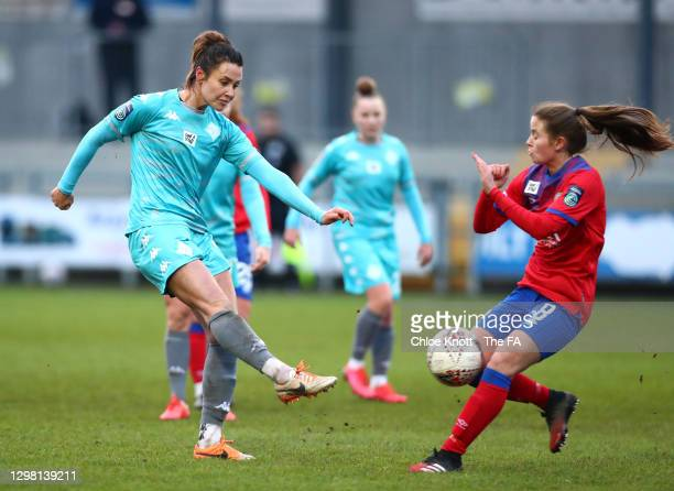 Elizabetha Ejupi of London City Lionesses has a shot on goal under pressure from Emma Doyle of Blackburn Ladies during the Barclays FA Women's...