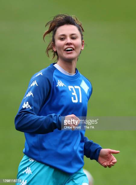 Elizabetha Ejupi of London City Lionesses warms up ahead of the Barclays FA Women's Championship match between London City Lionesses and Blackburn...