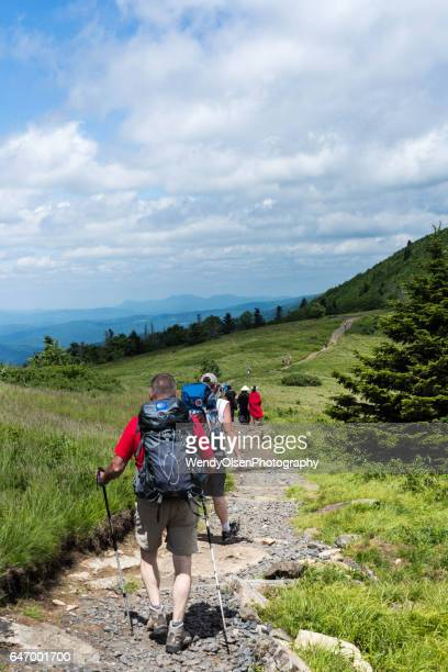 Elizabethton, Tennsessee, USA. June 18, 2016. A group of Appalachian trail hikers along with day hikers travel the Appalachian Trail across Roan Mountain in Tennessee.